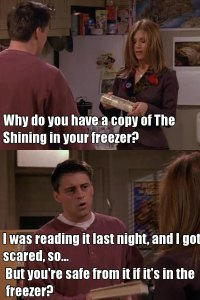 joey friends reading book freezer the shining