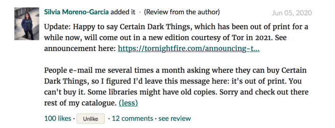 Silvia Goodreads update_Certain Dark Things